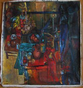 Russian Ukrainian Soviet Oil Painting Still Life avant-garde nonconformist