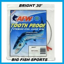 AFW TOOTH PROOF STAINLESS STEEL LEADER-Single Strand Wire-174LB Test 30FT BRIGHT