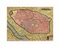 Map Old Vintage Cremona Italy City Plan Aerial View Canvas Print