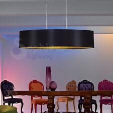Lampada lampadario 100 cm sospensione design moderno paralume nero oro cromato