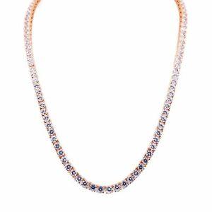 DIAMOND .925 STERLING SILVER BIG APPLE TENNIS CHAIN 14k ROSE GOLD