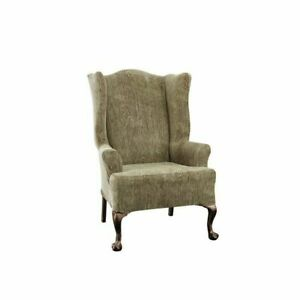 Stretch Sycamore  Wing chair slip cover by sure fit slipcover  timber