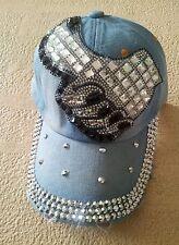 Denim*Cap*Baseball*Rhinestones*Thumbs Up*New*One Size*Jeans*Embellished*Stones*