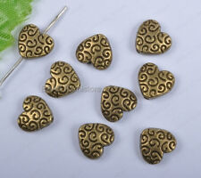 50pcs antique bronze Heart Shaped loose Spacer Beads 9mm DIY Findings