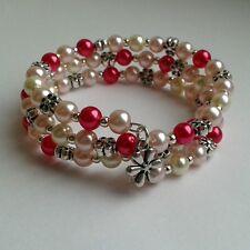 New Pink & Cream Glass Pearl & Flower Bead & Flower Charm Memory Wire Bracelet