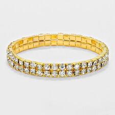 Rhinestone Bracelet 2 Row Wide Stretch Bangle Crystal Pave Wedding Bride GOLD