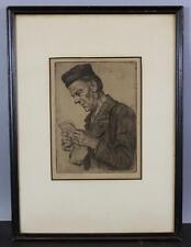 Antique c1900 Signed Petra Blass German Gentleman Reading Letter Etching Print