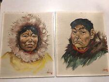 """Vintage Pair Alaska Eskimo Paintings Henne Goodale """"Athabascan"""""""
