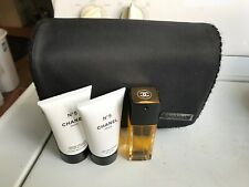 Chanel Black Clutch Cosmetic Travel Makeup Bag with No. 5 Perfume and creams