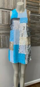 French Connection - Sleeveless Sequined Patchwork A Line Mini Dress - Size 6