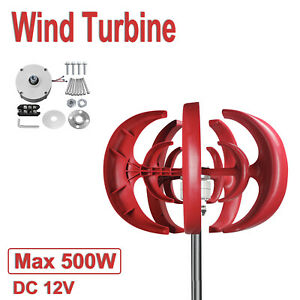 5 Blades Lantern Wind Turbine Generator Vertical Axis W/ Controller 500W DC 12V