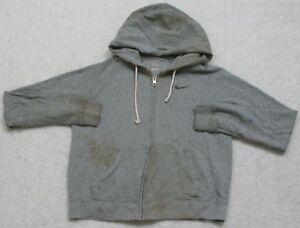 Nike Gray Hooded Work Sweatshirt Top Long Sleeve Cotton Polyester Size Medium