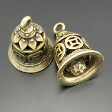 Antique Style Bronze Tone Heart Ancient Bell Charm Brass Pendants 10pcs