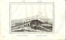 Stampa antica GIARDINI NAXOS Ponte arabo Messina Sicilia 1835 Old Antique print