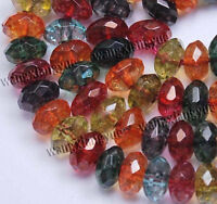 5x8mm Faceted Multicolor Tourmaline Abacus Loose Beads Gemstone 15""