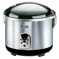 Oster 3071 20-Cup Digital Rice Cooker, Stainless Steel Black