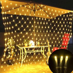 LED Lichtervorhang Lichternetz Lichterkette Weihnachten Garten Innen Außen DE