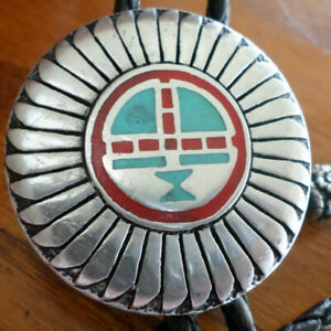 "KACHINA SUN FACE BOLO TIE TURQUOISE/CORAL CHIP INLAY 38"" CORD FREE SHIP MADE USA"