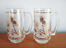 Libbey Dominion Gold Pine Cone Beer Mug x 2 Frosted Glass MCM 1950s Canada