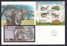 Zambia cover 1984 postmark Elephant cachet Reptiles stamps displaying Banknote