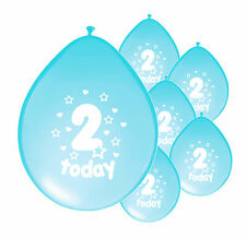 "10 X 2nd B'DAY BOY BALLOONS ""2 TODAY"" SECOND BIRTHDAY BALLOONS LIGHT BLUE (PA)"