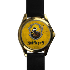 Hufflepuff House Harry Potter Wizard School of Magic Gold Leather Strap Watch
