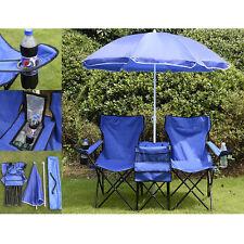 Double Portable Folding Picnic Chair W/Umbrella Table Cooler Beach Camping Chair