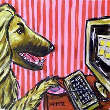 6x6 Afghan Hound working n a computer dog art tile coaster gift gifts coasters