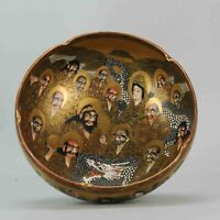 Antique and Rare Japanese Gold Satsuma Bowl Figures Japan Porcelain 19C[...