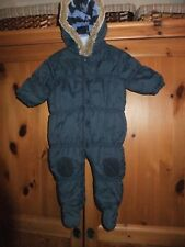 baby boys snow suit / pram suit by next navy blue with fleecy lining 3 - 6 month
