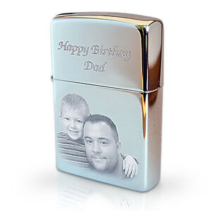 ZIPPO Lighter Personalised Engraved with Photo & Text, Father's day Gift