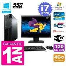 "PC LENOVO M82 SFF Screen 27 "" i7-3770 RAM 4Go SSD 120Go DVD Burner Wifi W7"