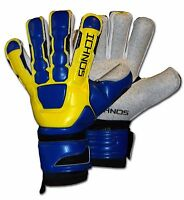 ICHNOS NEGATIVE CUT FOOTBALL FINGERSAVE BLUE YELLOW GOALKEEPER GLOVES SIZE 9