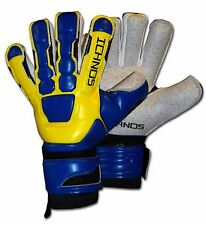 ICHNOS BRAJA HYBRID GRAPHITE SOCCER FOOTBALL FINGERSAVE GOALKEEPER GLOVES SIZE 9