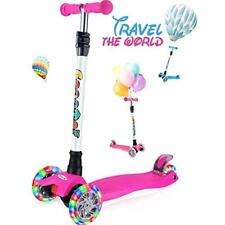 Kick Scooters Outon For Kids 3 Wheel Toddler Girls Boys, Lean To Steer, 4 Light