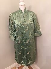 Vintage Jade Green Asian Chinese House Coat Robe Kimono Distressed Antique 38