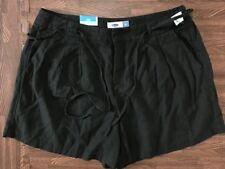 Old Navy Linen Blend High Waist Rise Pleated Black Cat Shorts Sz 10 Summer