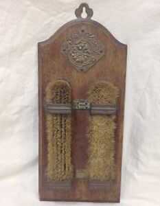 Vintage Bristle Brush Set Wall Mount 3 Piece Wood Metal Holder Shoe Clothing Ash