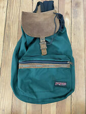 Jansport Vintage 90s Green Nylon & Suede Leather Flap Buckle Drawstring Backpack