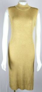 VTG Adrienne Vittadini Saks Fifth Avenue Lurex Gold Metallic Mock Dress Sz Large
