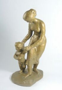 Vintage Pottery Sculpture of Mother and Child at the Beach signed VB