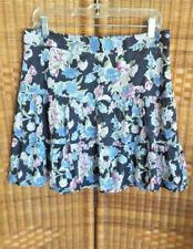 Ann Taylor Loft Womens SZ 10 MULTICOLOR BLUE FLORAL Skirt TIERS BOHO GATHERED