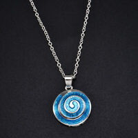 HOT Fashion 925 Silver Blue Fire Opal Charm Pendant Necklace Chain Jewelry Gift