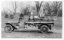 White Fire Apparatus Triple Combination Motor Pumper truck real photo postcard