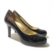 Tahari Lonnie Pumps Women's Size 11 M Brown Patent Leather Reptile Print Heels