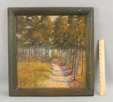 c1900 Antique Signed Parkinson Impressionist Wooded Path Landscape Oil Painting
