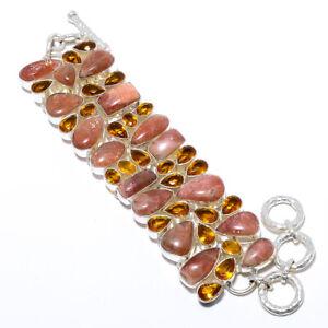 """Natural Sunstone & Golden Topaz Solid 925 Sterling Silver Bracelet 7-8"""" M1578"""