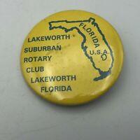 "Vintage Lakeworth Florida Suburban Rotary Club 2-1/4"" Button Pinback  Q9"