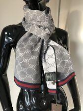 GUCCI GG Muster Unisex 23 X 180 cm Schal 100%Wolle grau  NEU OVP