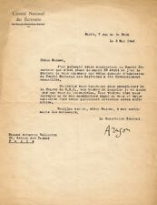 Louis ARAGON. Lette dactylographiée signée à Antonnia Vallentin.  1946.